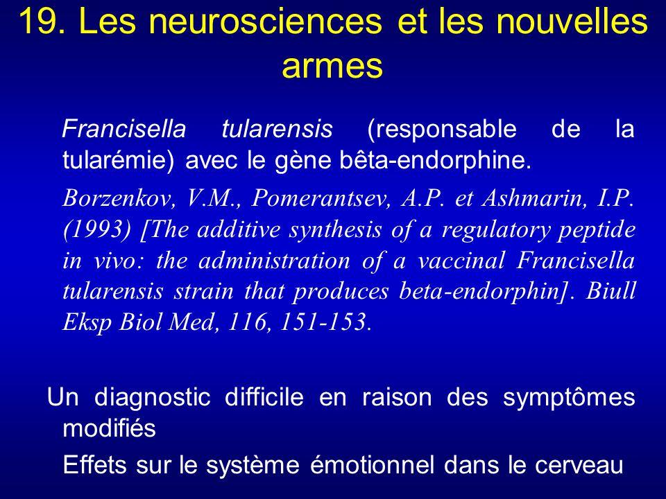 19. Les neurosciences et les nouvelles armes