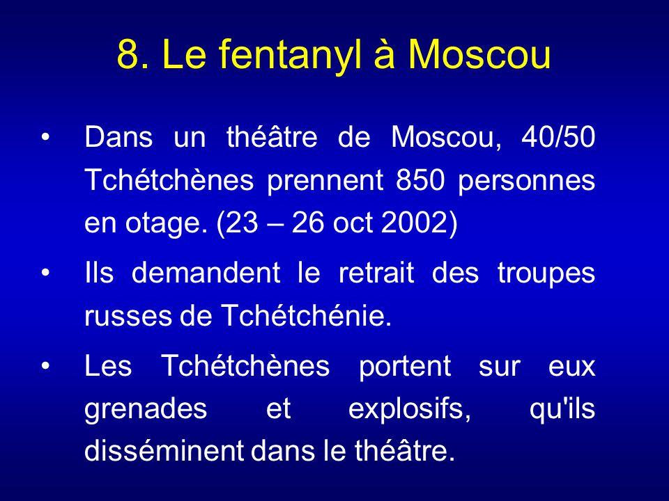 8. Le fentanyl à Moscou Dans un théâtre de Moscou, 40/50 Tchétchènes prennent 850 personnes en otage. (23 – 26 oct 2002)