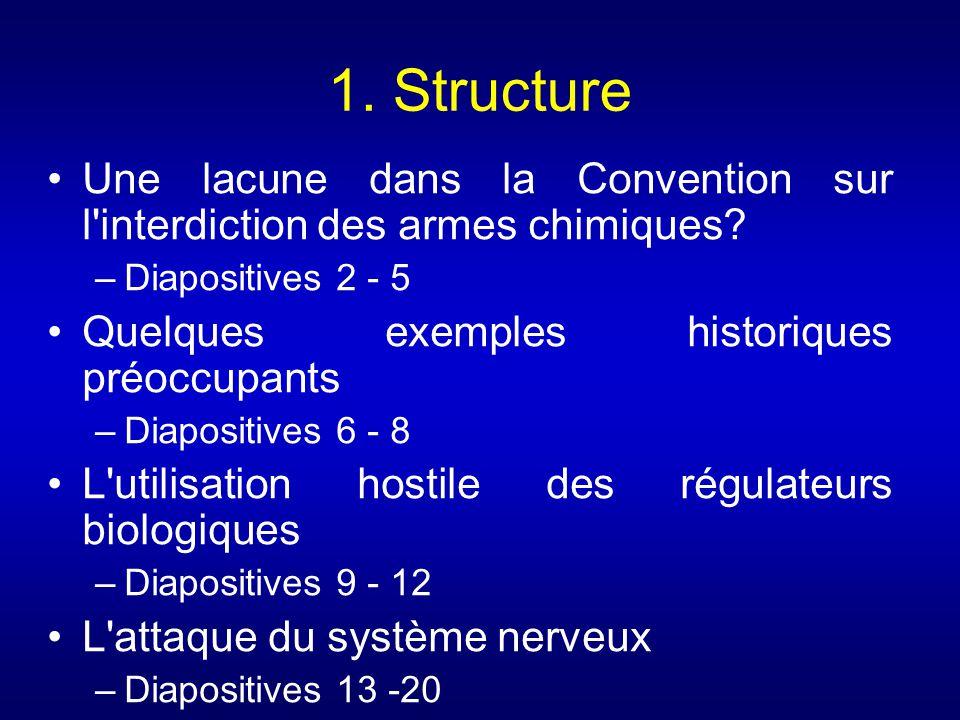 1. Structure Une lacune dans la Convention sur l interdiction des armes chimiques Diapositives 2 - 5.