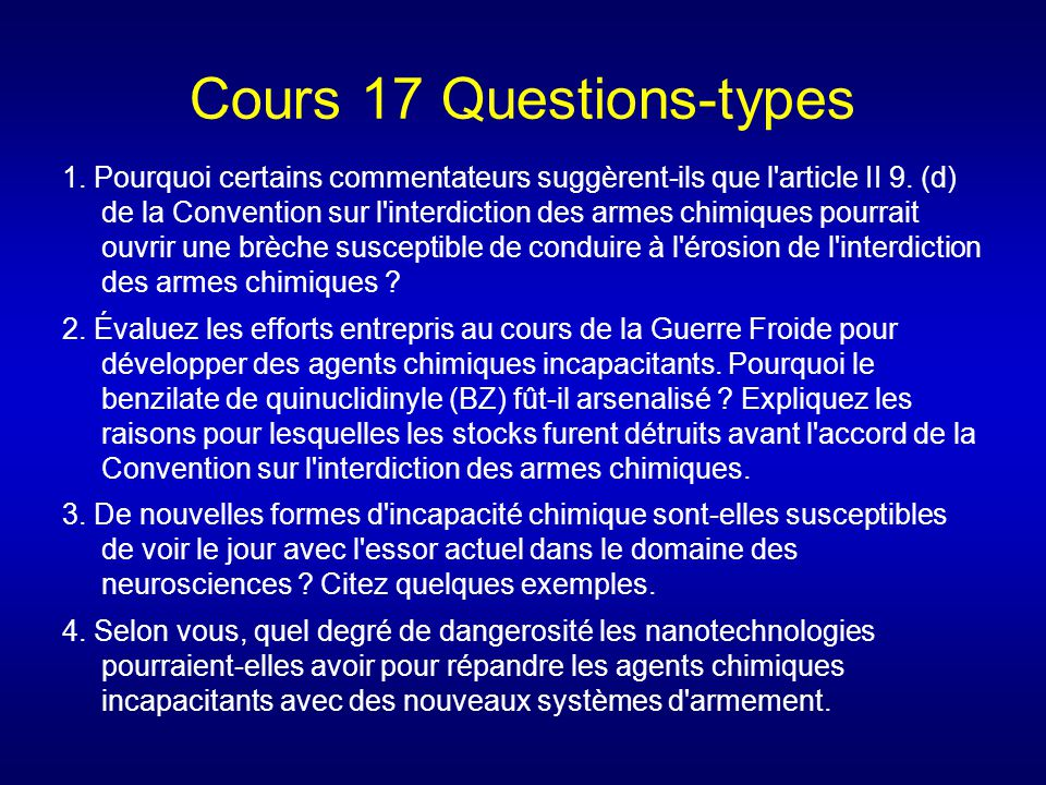 Cours 17 Questions-types