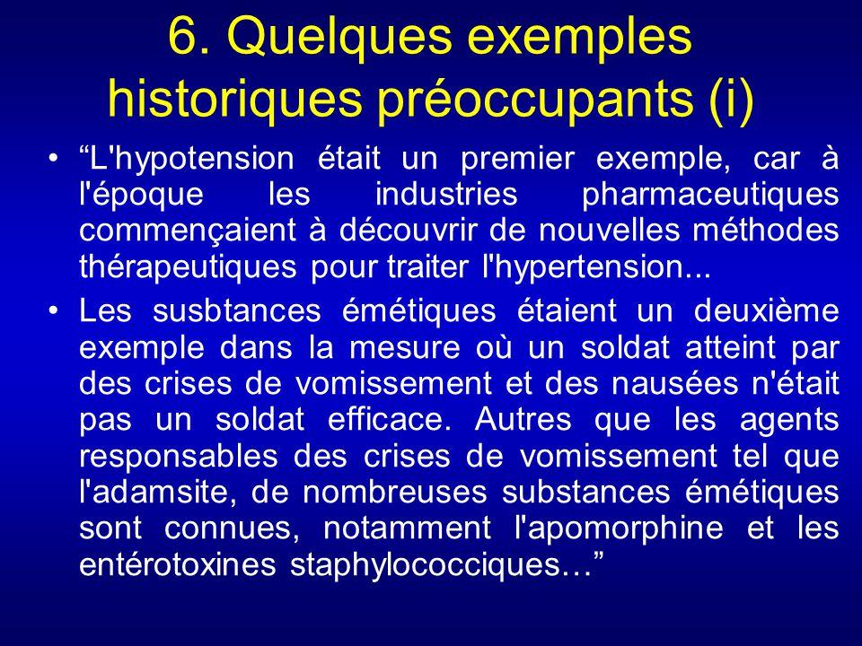 6. Quelques exemples historiques préoccupants (i)