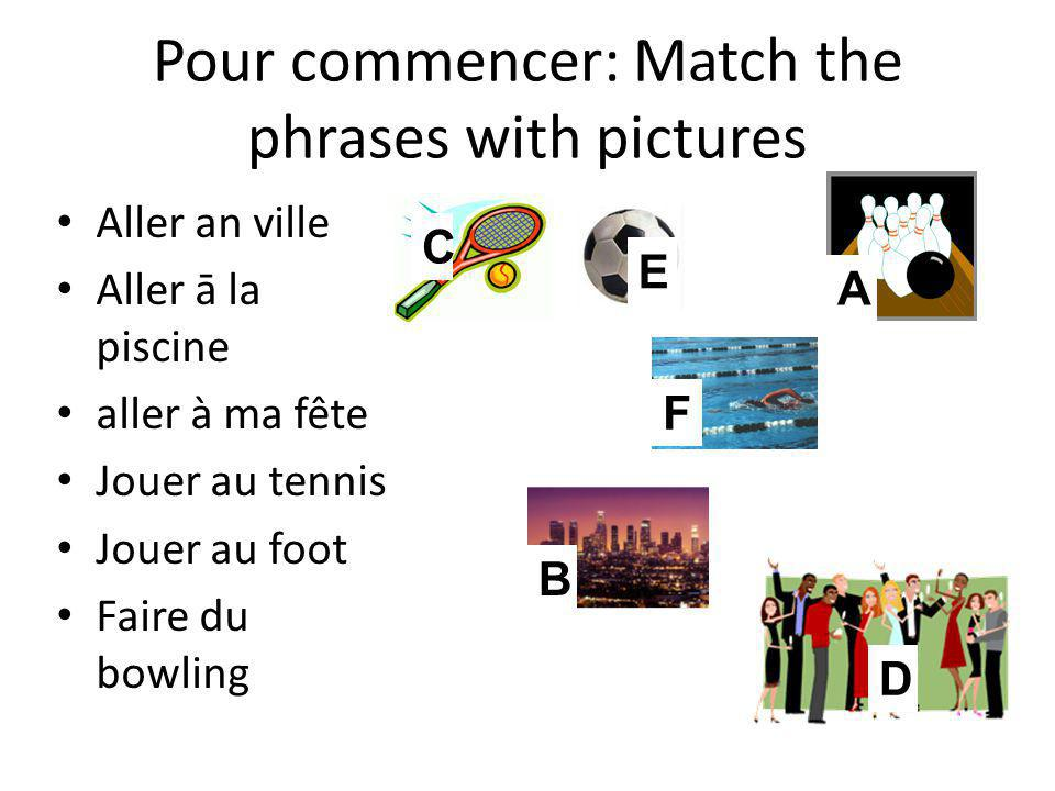 Pour commencer: Match the phrases with pictures