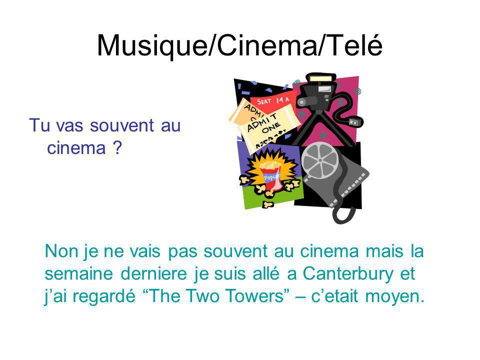 Musique/Cinema/Telé Tu vas souvent au cinema