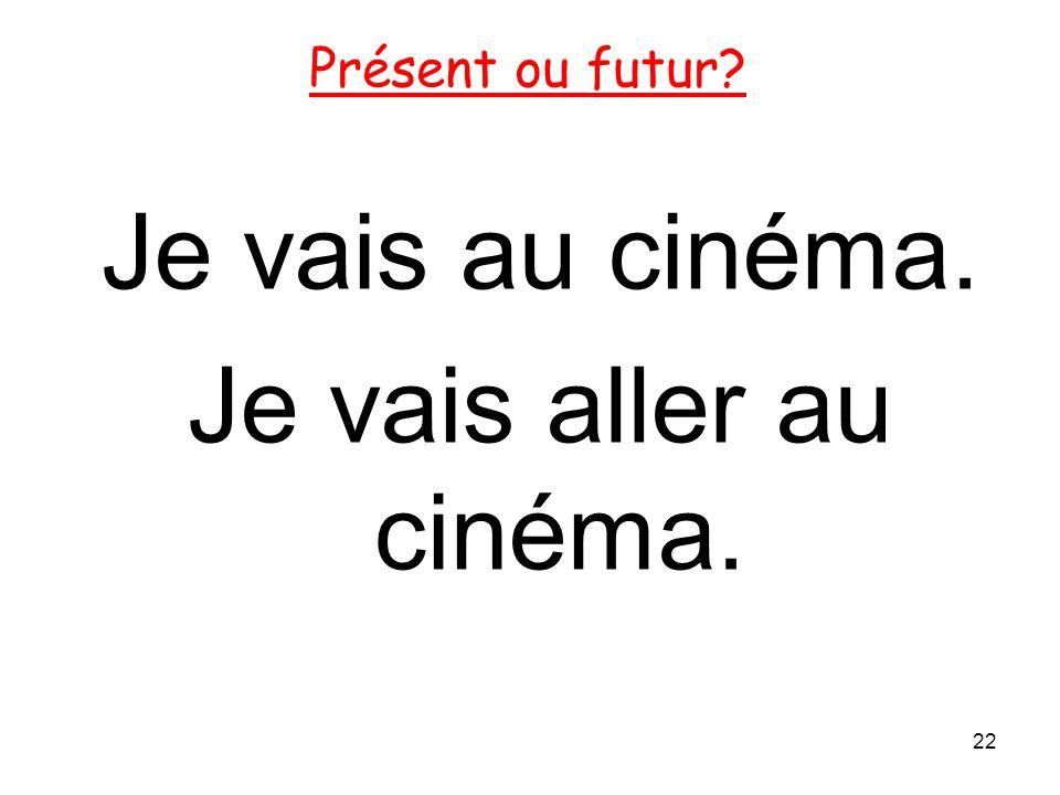 Je vais au cinéma. Je vais aller au cinéma.