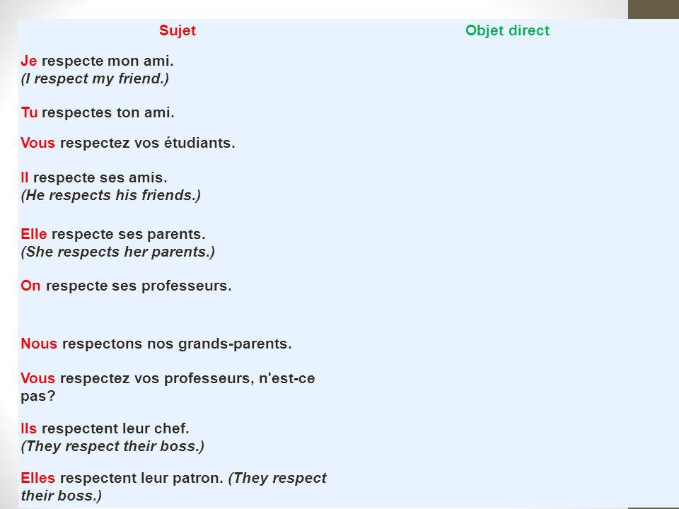 Sujet Objet direct. Je respecte mon ami. (I respect my friend.) Tu respectes ton ami. Vous respectez vos étudiants.