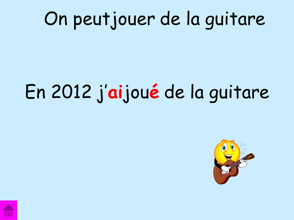 En 2012 j'aijoué de la guitare