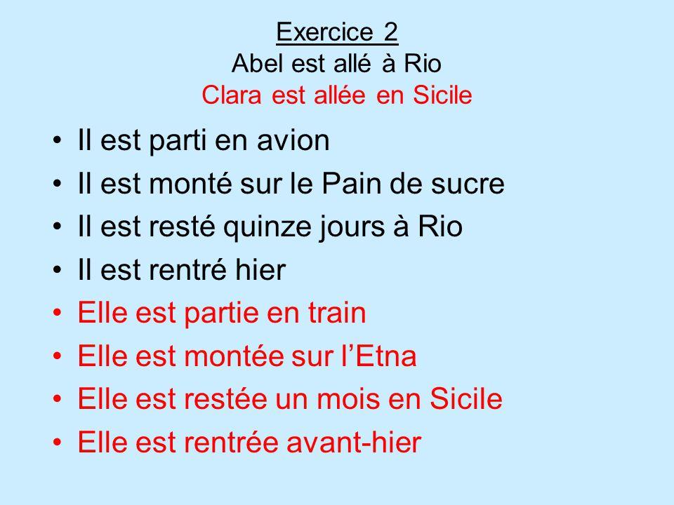 Exercice 2 Abel est allé à Rio Clara est allée en Sicile