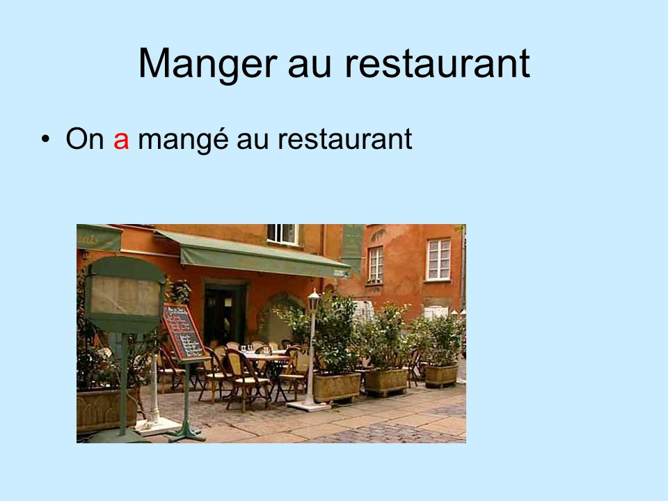 Manger au restaurant On a mangé au restaurant