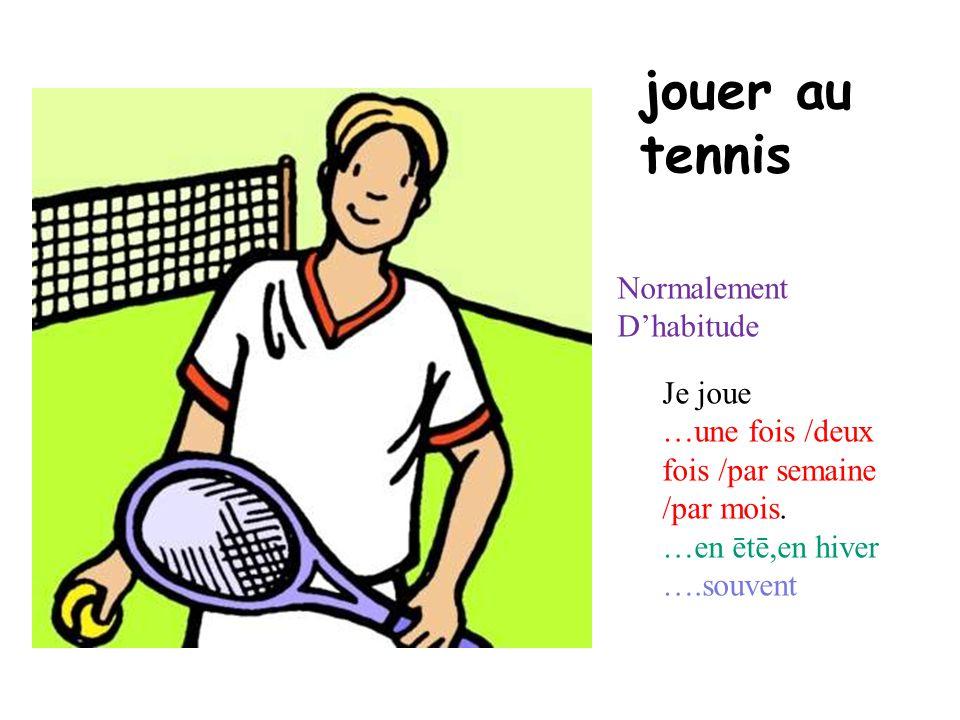jouer au tennis Normalement D'habitude Je joue
