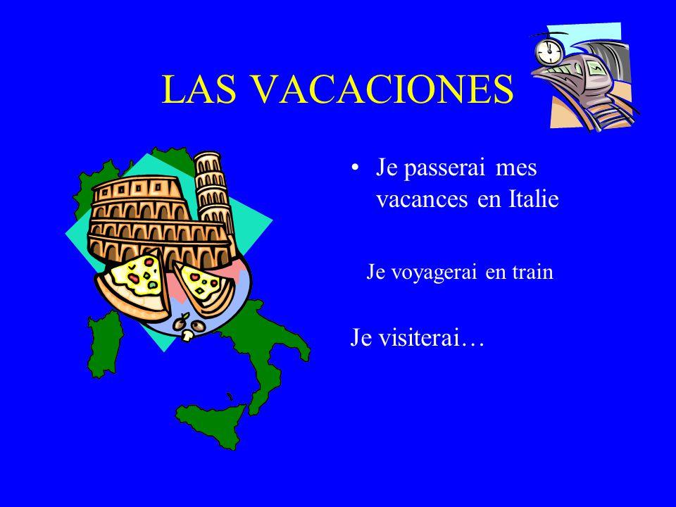 LAS VACACIONES Je passerai mes vacances en Italie Je visiterai…