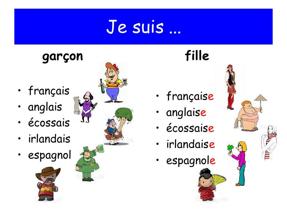Je suis ... garçon fille français française anglais anglaise écossais