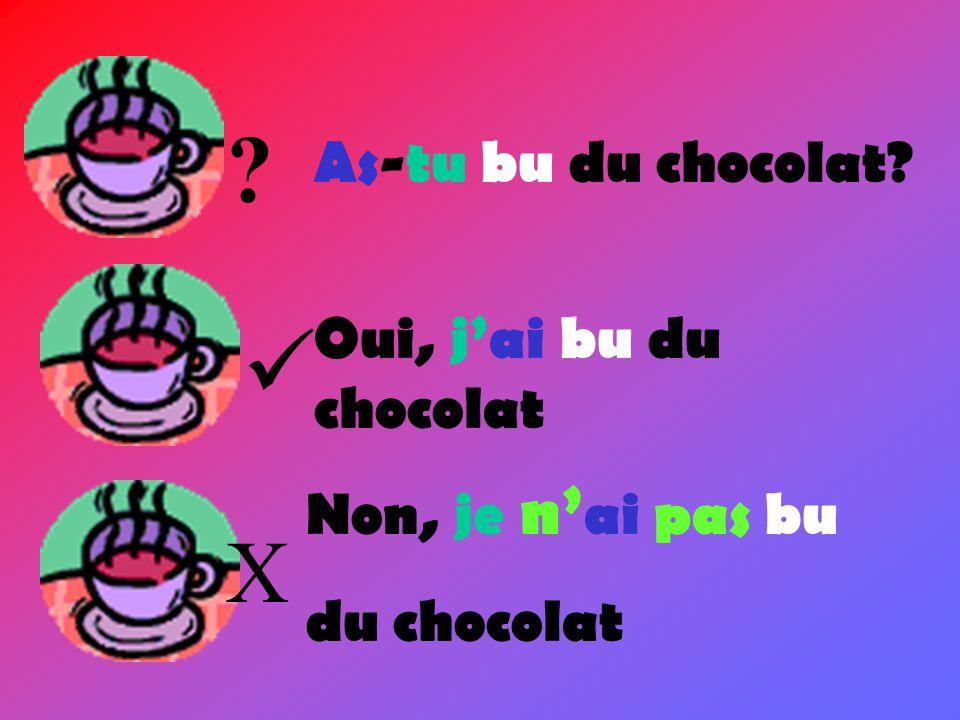  X As-tu bu du chocolat Oui, j'ai bu du chocolat