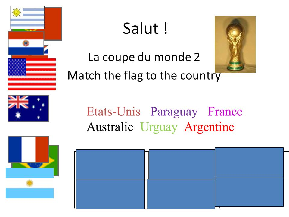 La coupe du monde 2 Match the flag to the country