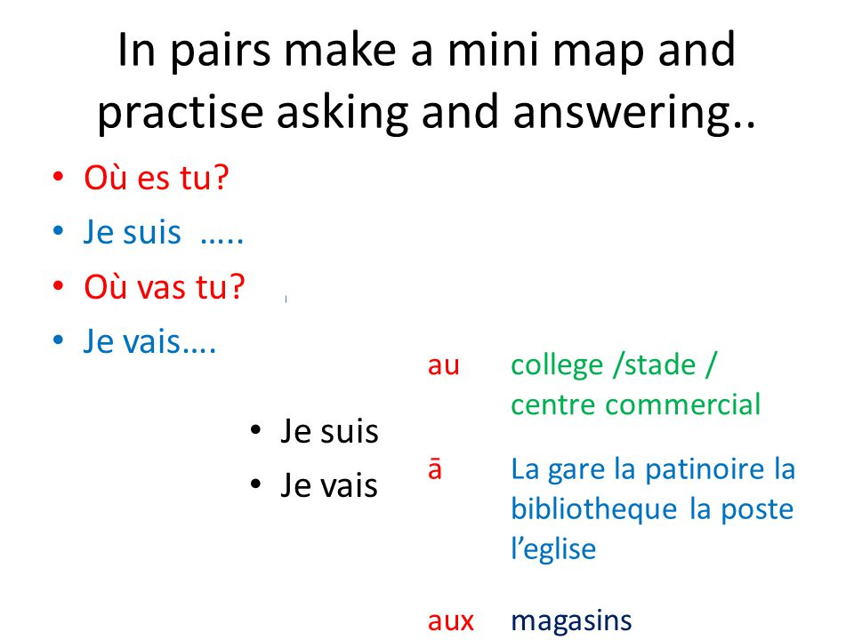 In pairs make a mini map and practise asking and answering..