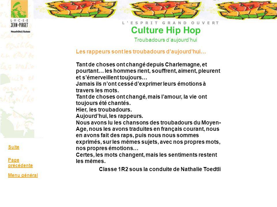 Culture Hip Hop Troubadours d'aujourd'hui