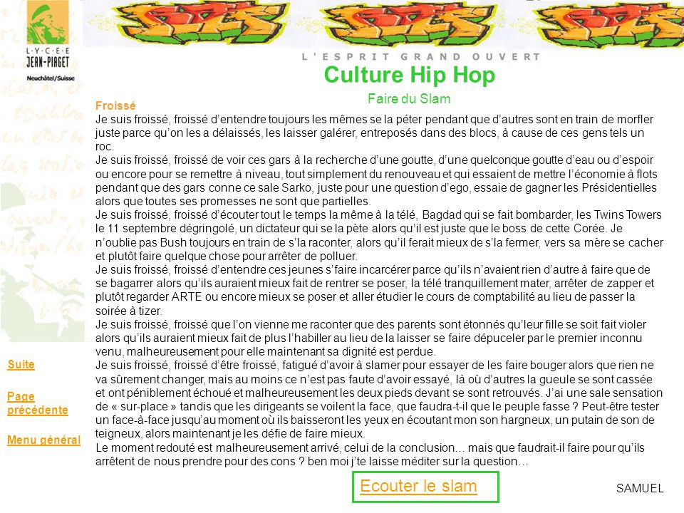 Culture Hip Hop Faire du Slam