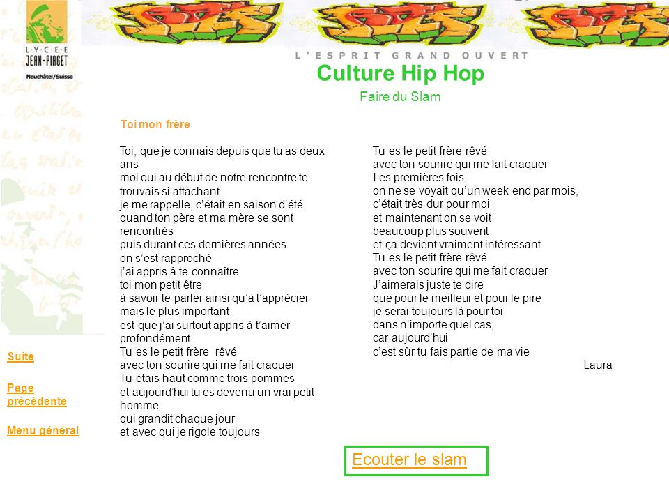 Culture Hip Hop Faire du Slam