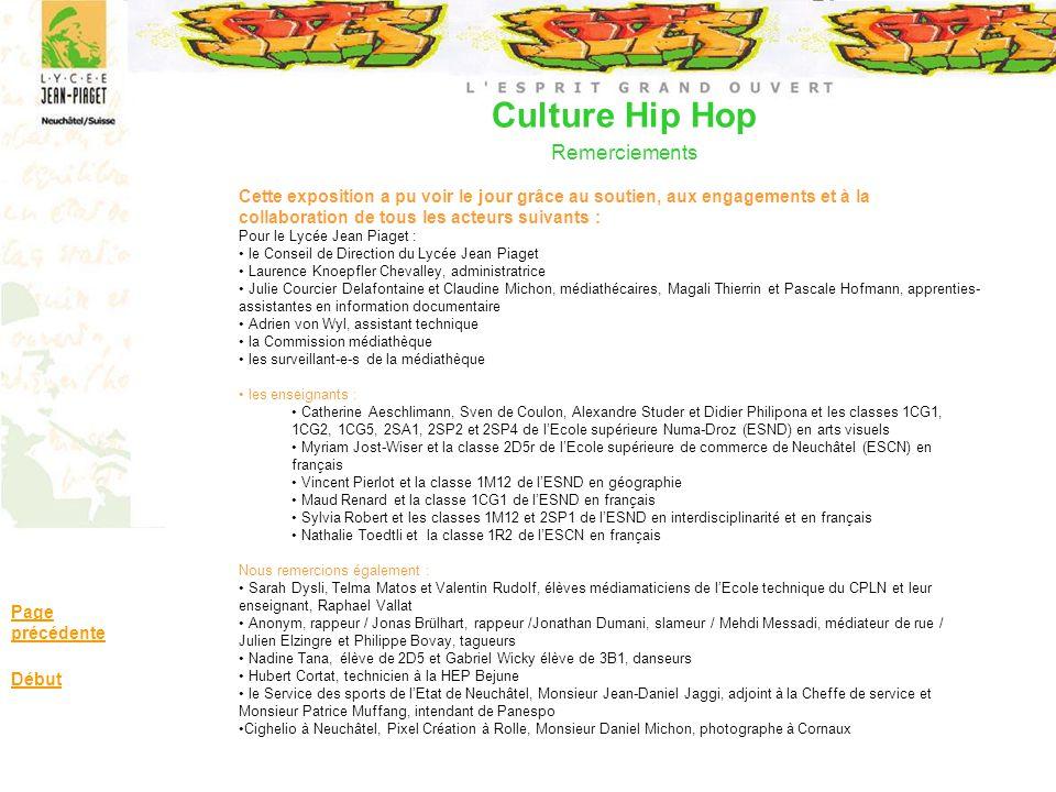 Culture Hip Hop Remerciements