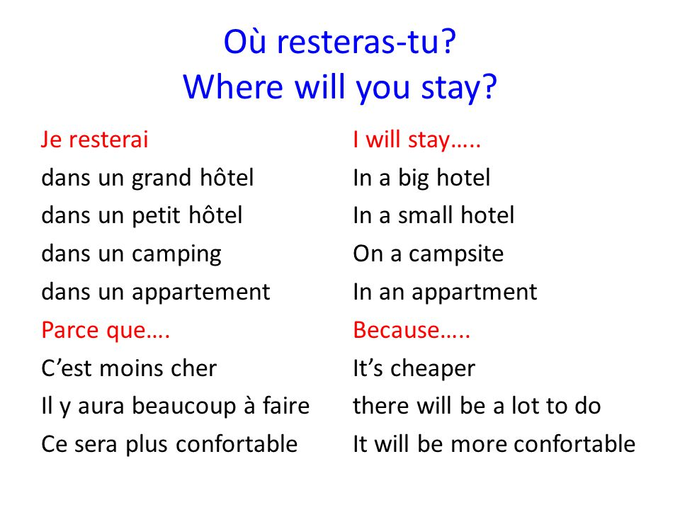 Où resteras-tu Where will you stay