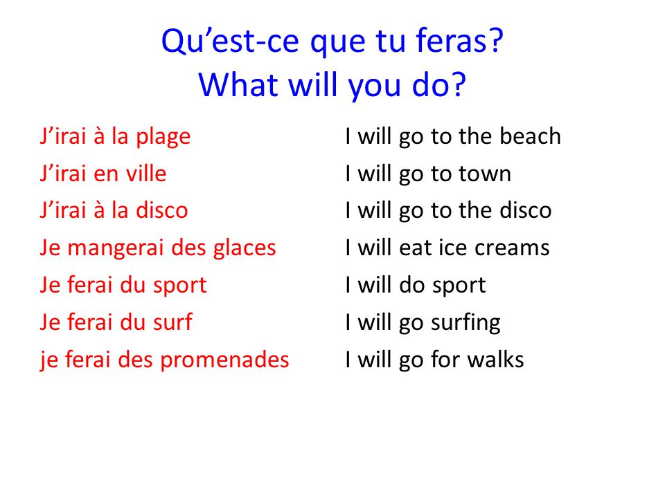 Qu'est-ce que tu feras What will you do