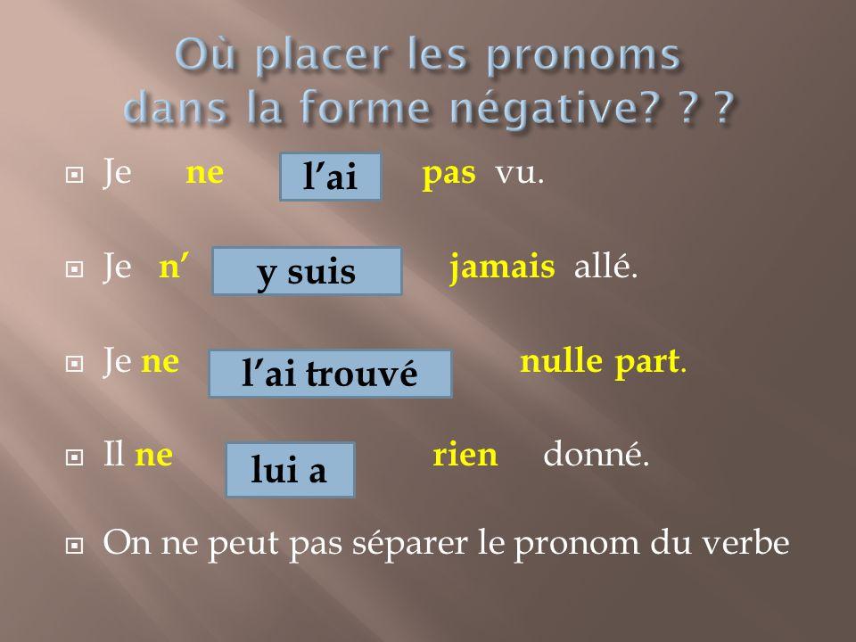 Où placer les pronoms dans la forme négative