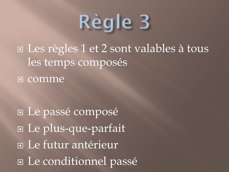 Règle 3 Les règles 1 et 2 sont valables à tous les temps composés