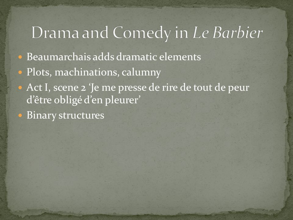 Drama and Comedy in Le Barbier