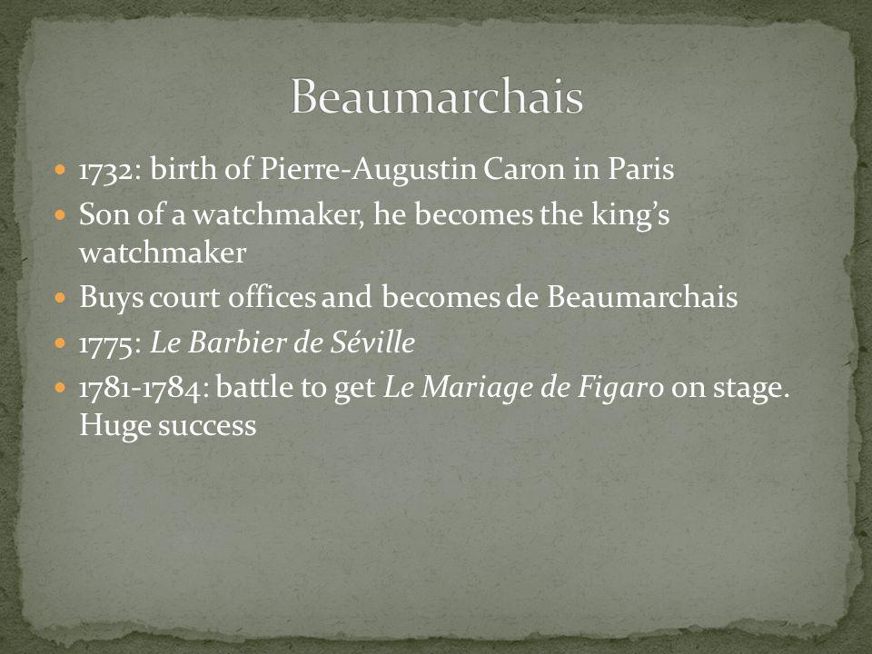 Beaumarchais 1732: birth of Pierre-Augustin Caron in Paris