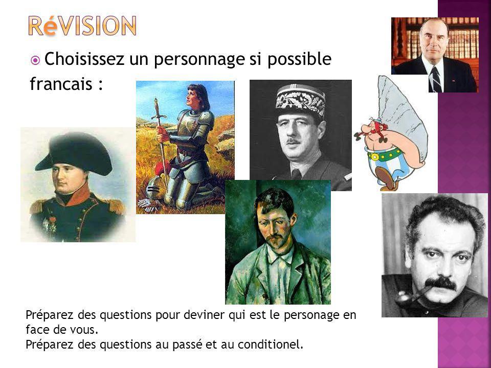 Révision Choisissez un personnage si possible francais :