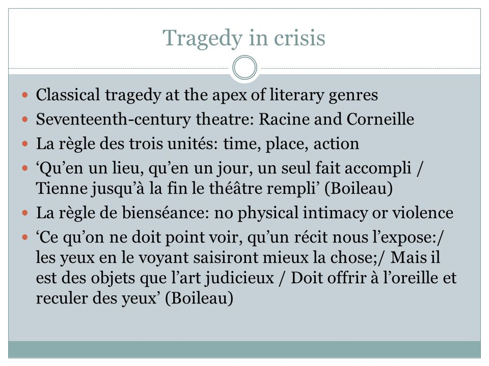 Tragedy in crisis Classical tragedy at the apex of literary genres