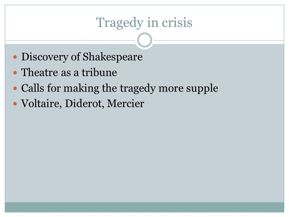 Tragedy in crisis Discovery of Shakespeare Theatre as a tribune