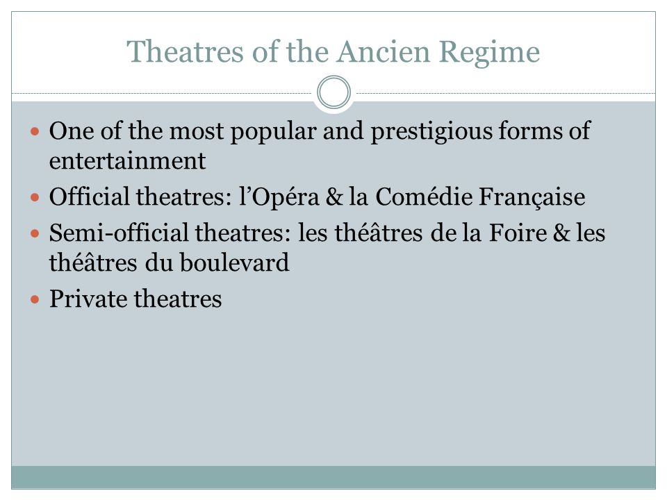 Theatres of the Ancien Regime