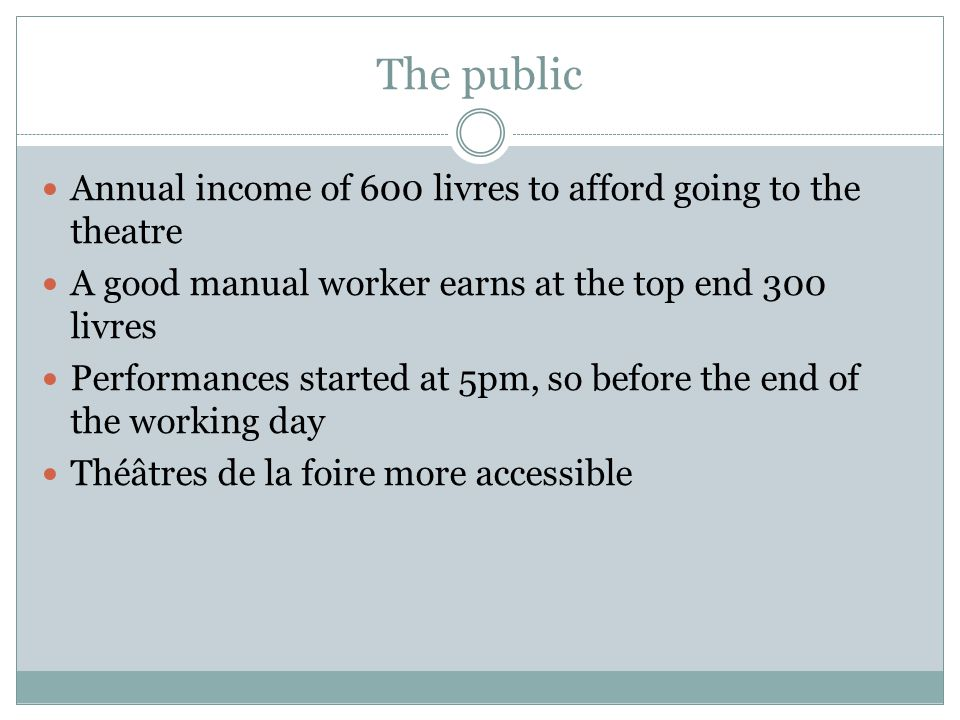 The public Annual income of 600 livres to afford going to the theatre