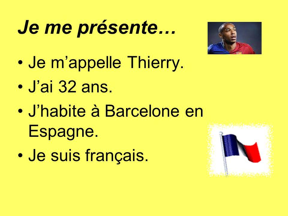 Je me présente… Je m'appelle Thierry. J'ai 32 ans.
