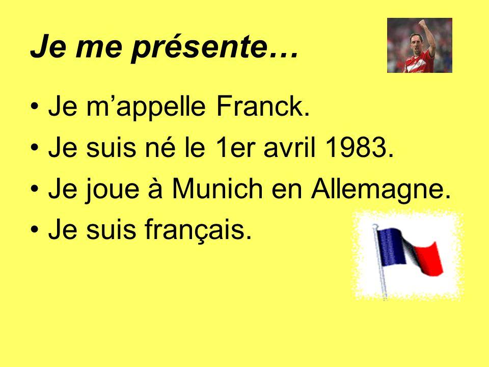 Je me présente… Je m'appelle Franck. Je suis né le 1er avril 1983.