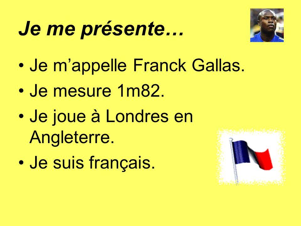 Je me présente… Je m'appelle Franck Gallas. Je mesure 1m82.