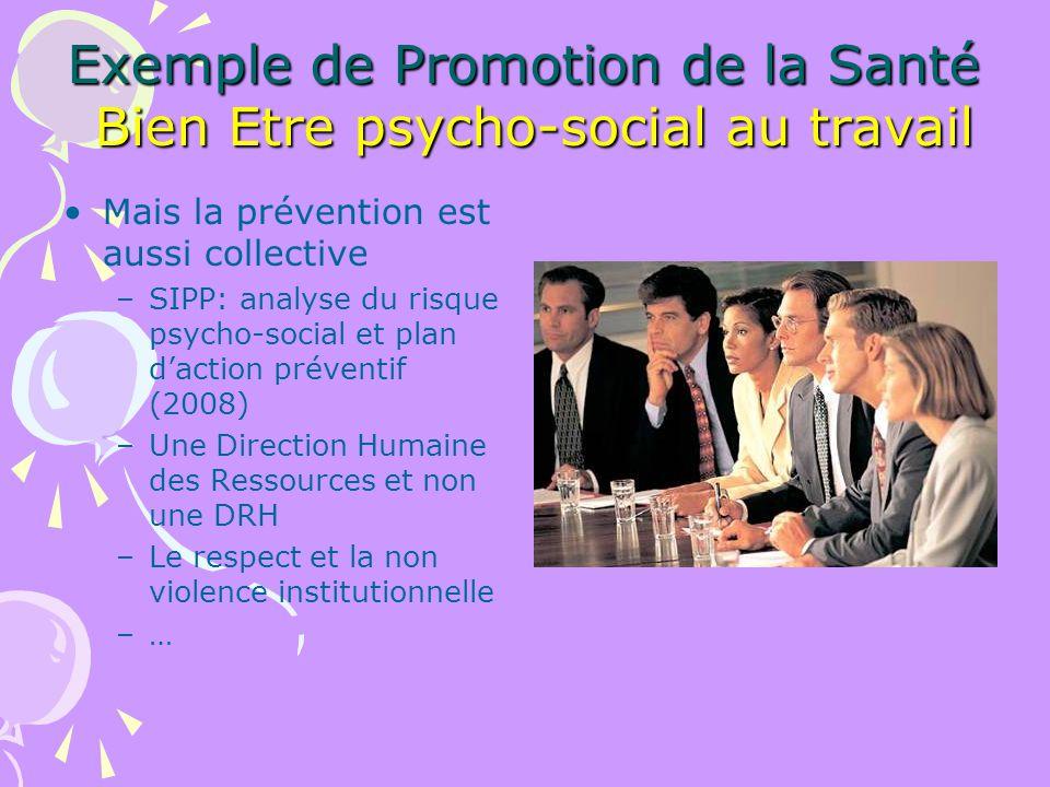 Exemple de Promotion de la Santé Bien Etre psycho-social au travail