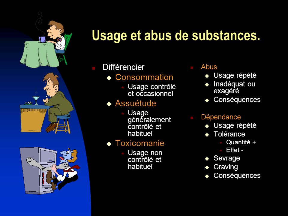 Usage et abus de substances.