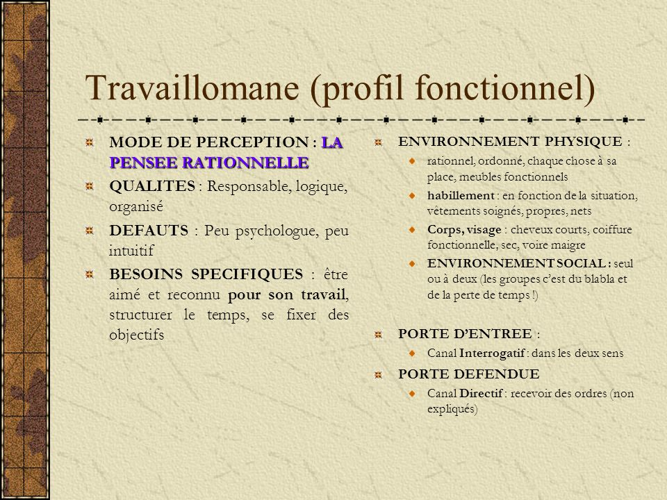 Travaillomane (profil fonctionnel)