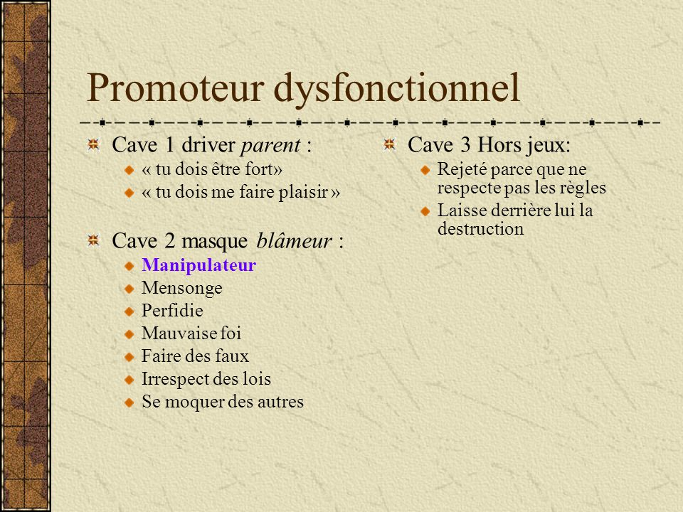 Promoteur dysfonctionnel