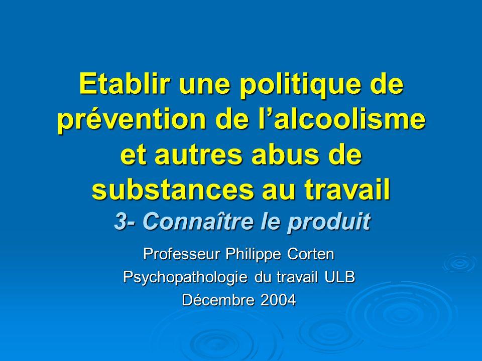 Etablir une politique de prévention de l'alcoolisme et autres abus de substances au travail 3- Connaître le produit