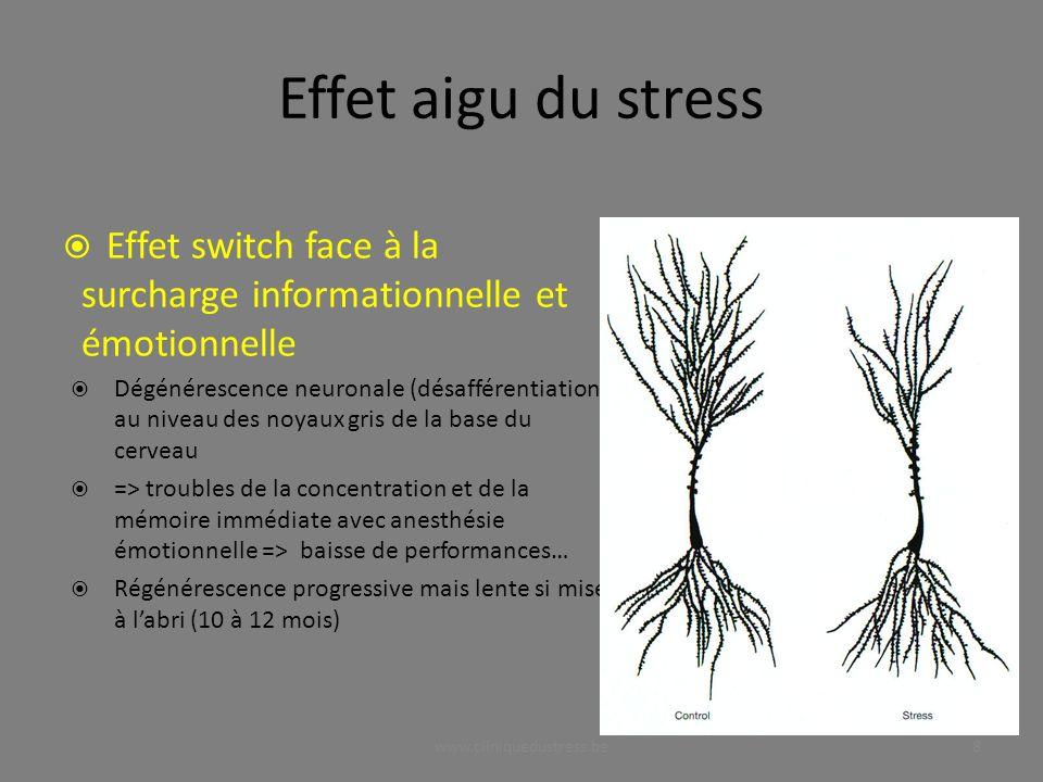 Effet aigu du stress Effet switch face à la surcharge informationnelle et émotionnelle.