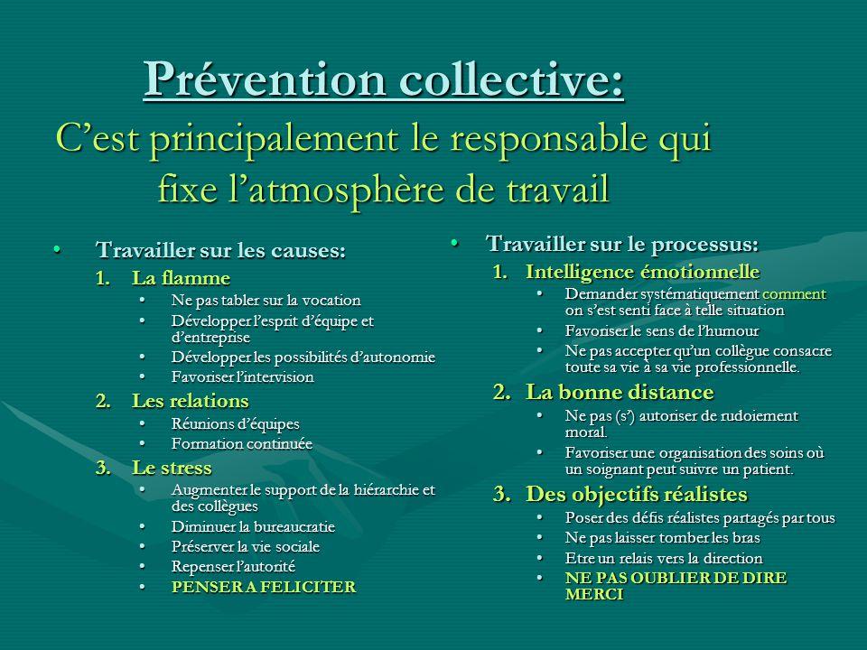 Prévention collective: C'est principalement le responsable qui fixe l'atmosphère de travail
