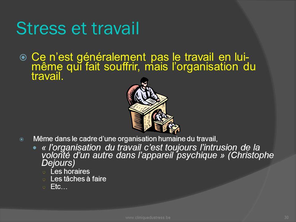 Stress et travail Ce n'est généralement pas le travail en lui-même qui fait souffrir, mais l'organisation du travail.