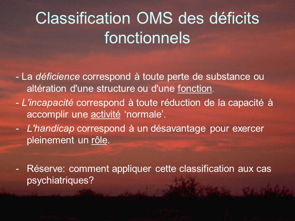 Classification OMS des déficits fonctionnels