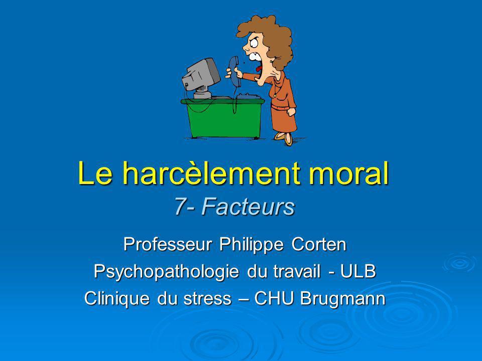 Le harcèlement moral 7- Facteurs