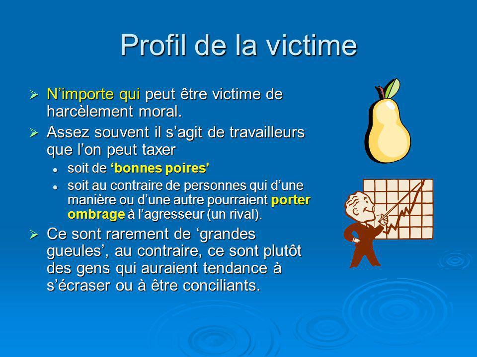 Profil de la victime N'importe qui peut être victime de harcèlement moral. Assez souvent il s'agit de travailleurs que l'on peut taxer.