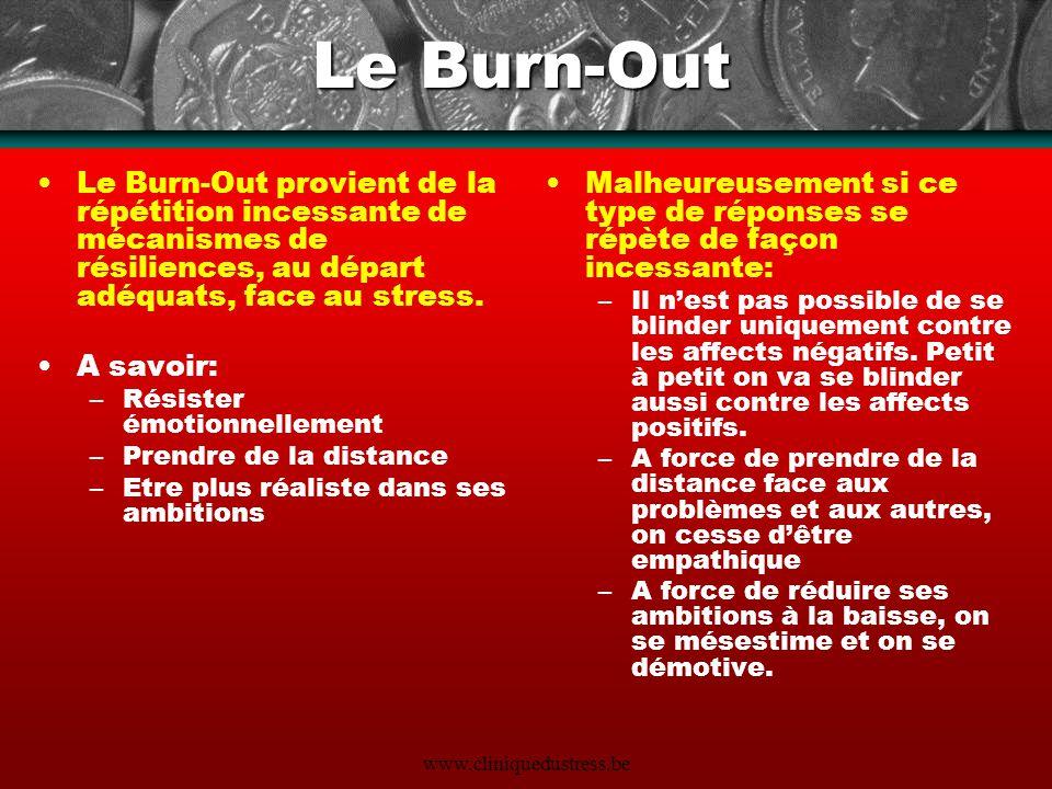 Le Burn-Out Le Burn-Out provient de la répétition incessante de mécanismes de résiliences, au départ adéquats, face au stress.