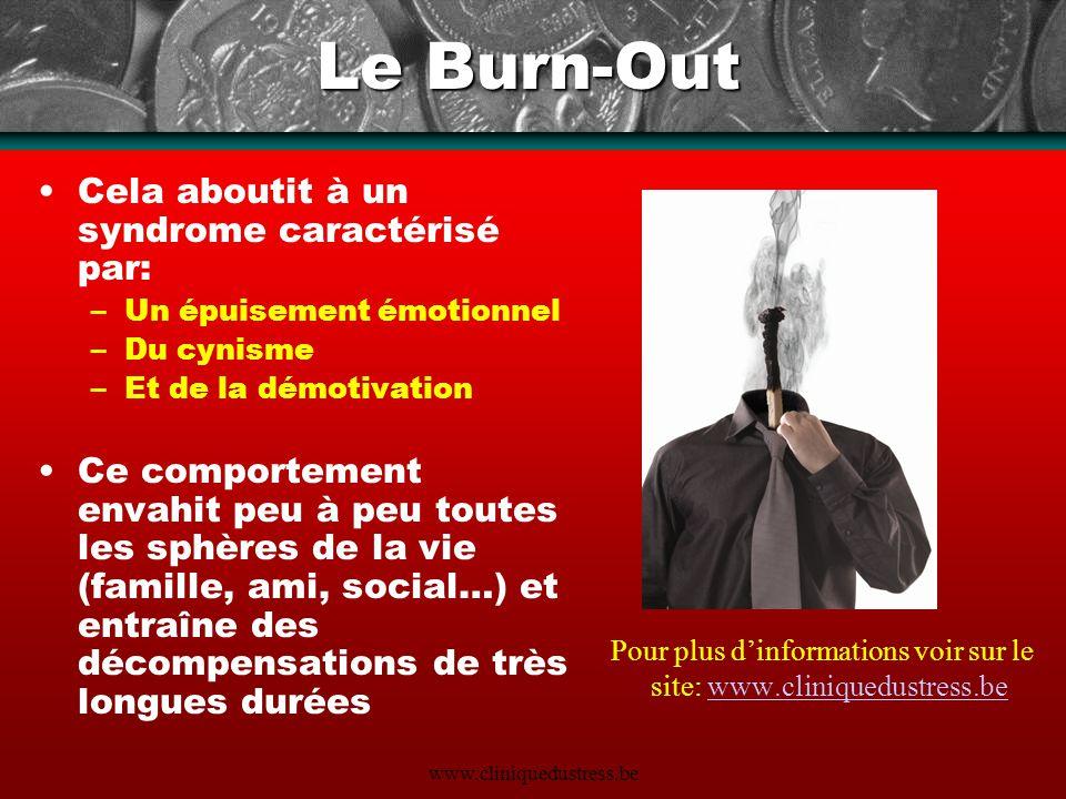 Le Burn-Out Cela aboutit à un syndrome caractérisé par: