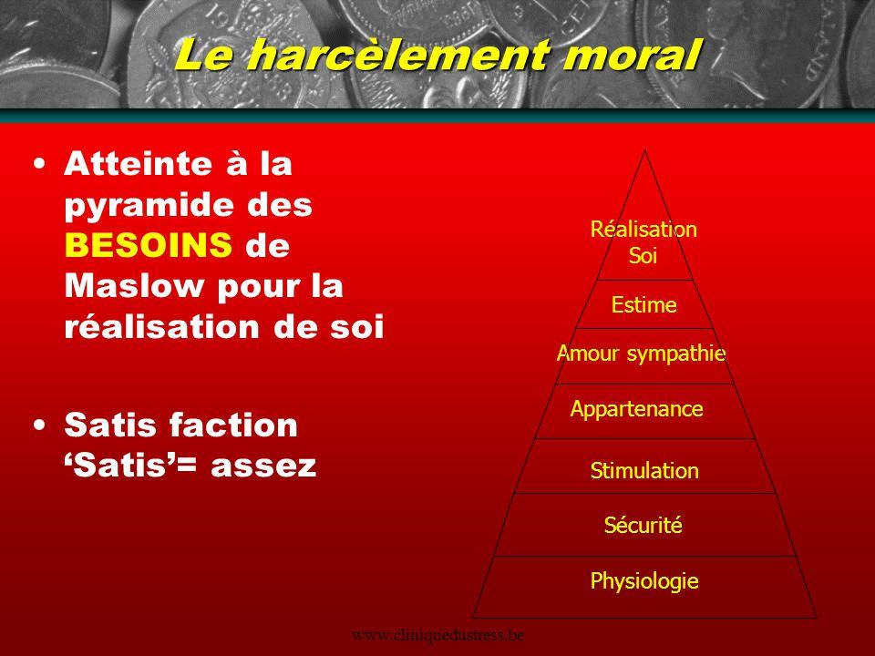 Le harcèlement moral Atteinte à la pyramide des BESOINS de Maslow pour la réalisation de soi. Satis faction 'Satis'= assez.
